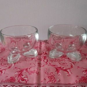 Other - Footed Bowls Clear Pressed Glass Set of 2